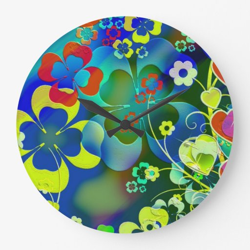 Corazones, tréboles y flores en arte abstracto reloj de pared
