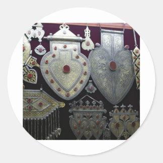 Corazones turcomanos etiquetas redondas