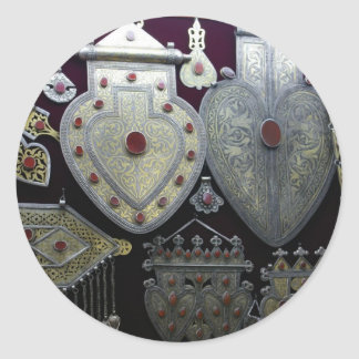 Corazones turcomanos etiqueta redonda