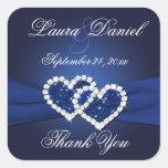 Corazones unidos azules marinos que casan al calcomanías cuadradas personalizadas