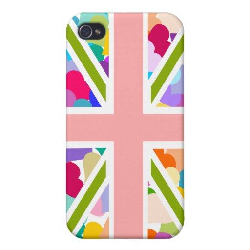 Corazones Union Jack del arco iris iPhone 4 Carcasas