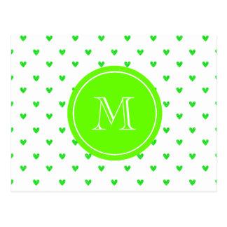 Corazones verdes claros del brillo con el monogram