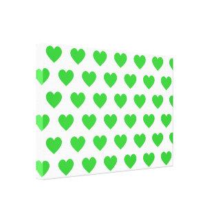 Corazones verdes claros del lunar impresiones en lienzo estiradas