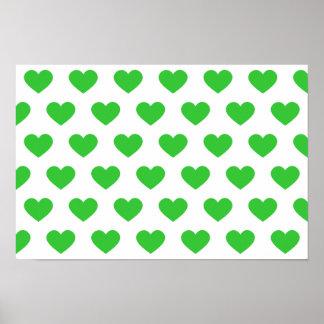 Corazones verdes claros del lunar póster