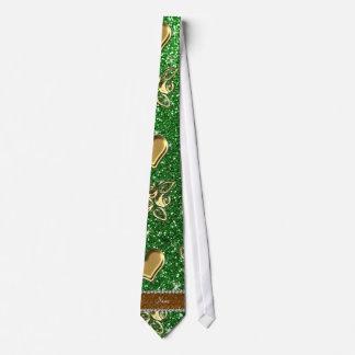 Corazones verdes conocidos de encargo de los rosas corbata personalizada