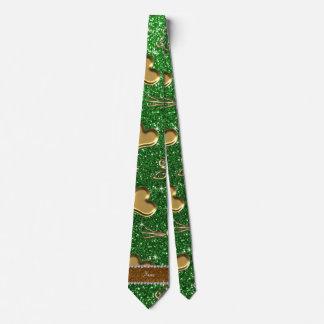 Corazones verdes conocidos de encargo de los rosas corbatas personalizadas