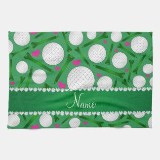 Corazones verdes conocidos personalizados de las toallas