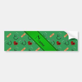 Corazones verdes conocidos personalizados del pegatina para coche