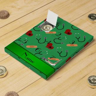 Corazones verdes conocidos personalizados del