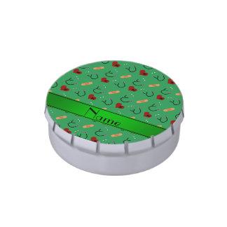 Corazones verdes conocidos personalizados del jarrones de caramelos