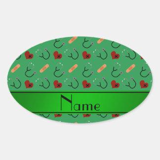 Corazones verdes conocidos personalizados del pegatina ovalada