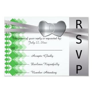 """Corazones verdes de la tarjeta de RSVP y de plata Invitación 3.5"""" X 5"""""""