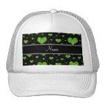 Corazones verdes de neón conocidos personalizados  gorra