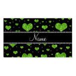 Corazones verdes de neón conocidos personalizados  plantilla de tarjeta de visita