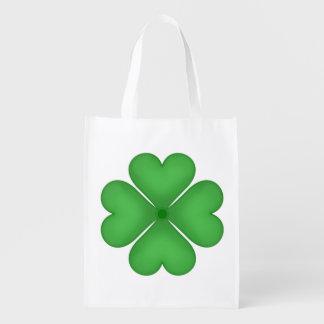Corazones verdes del trébol de la hoja del trébol bolsas reutilizables