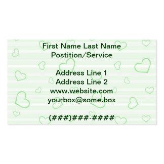 Corazones verdes tarjeta de visita
