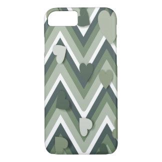 Corazones verdes y Cheverons Funda iPhone 7