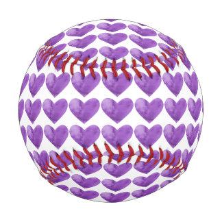 Corazones violetas púrpuras en béisbol de la