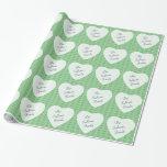 Corazones y acebo personalizados Giftwrap del