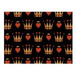 Corazones y adorno de las coronas tarjetas postales