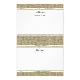 Corazones y arpillera atesorados papeleria personalizada