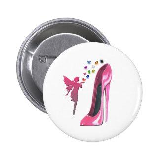 Corazones y arte de hadas rosados del zapato del e pin redondo de 2 pulgadas