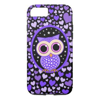 corazones y búho púrpura funda iPhone 7