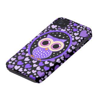 corazones y búho púrpura funda para iPhone 4