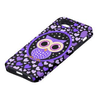 corazones y búho púrpura funda para iPhone SE/5/5s