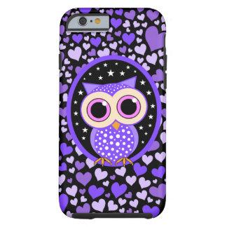 corazones y búho púrpura funda resistente iPhone 6