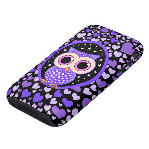 corazones y búho púrpura tough iPhone 3 carcasas