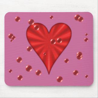 Corazones y burbujas (rosa) alfombrilla de raton