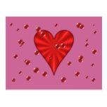 Corazones y burbujas (rosa) tarjeta postal