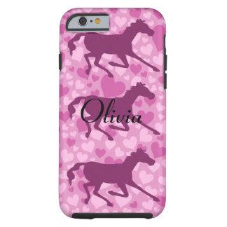 corazones y caballos funda de iPhone 6 tough