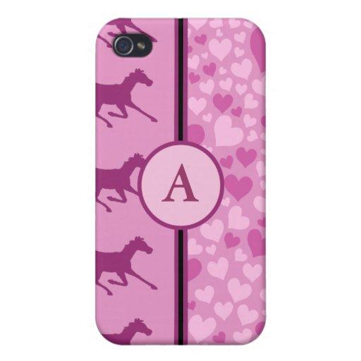 corazones y caballos iPhone 4 protector
