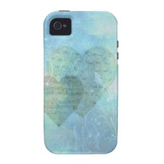 Corazones y caja azul del teléfono de las mariposa iPhone 4 fundas