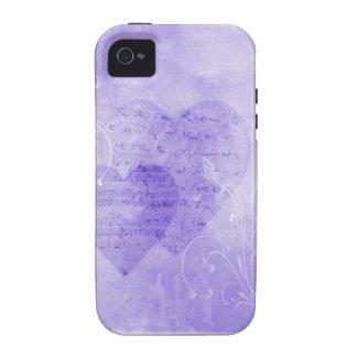 Corazones y caja púrpura del teléfono de las marip iPhone 4/4S carcasa