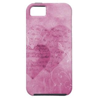 Corazones y caja rosada del teléfono de las maripo iPhone 5 cárcasas