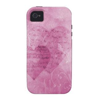 Corazones y caja rosada del teléfono de las maripo vibe iPhone 4 carcasas