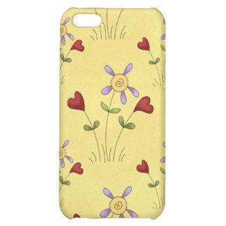 Corazones y caso del iPhone 4 de Apple de las flor