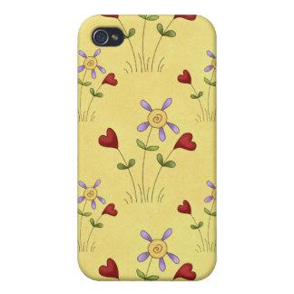 Corazones y caso del iPhone 4 de Apple de las flor iPhone 4 Protectores