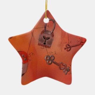 Corazones y cerraduras, pintura de la acuarela ornamento de navidad