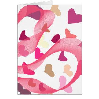 Corazones y cintas - rosa - tarjeta en blanco