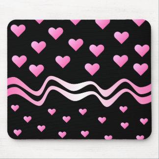 Corazones y cintas rosados negros mouse pad