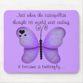 Corazones y cojín de ratón púrpura de la cita de l mousepads
