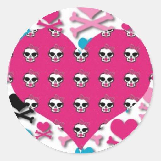 Corazones y cráneos del punk rock de Girlie Pegatina Redonda