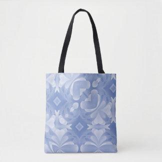 Corazones y diamantes abstractos de los azules bolsa de tela