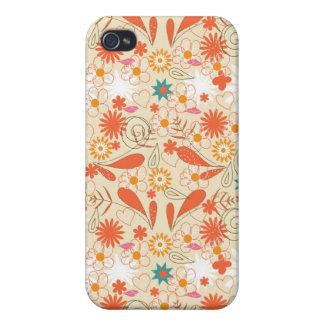Corazones y Doodle anaranjados de la flor iPhone 4 Fundas