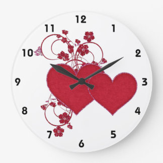 Corazones y el día de San Valentín rojos dobles Reloj Redondo Grande