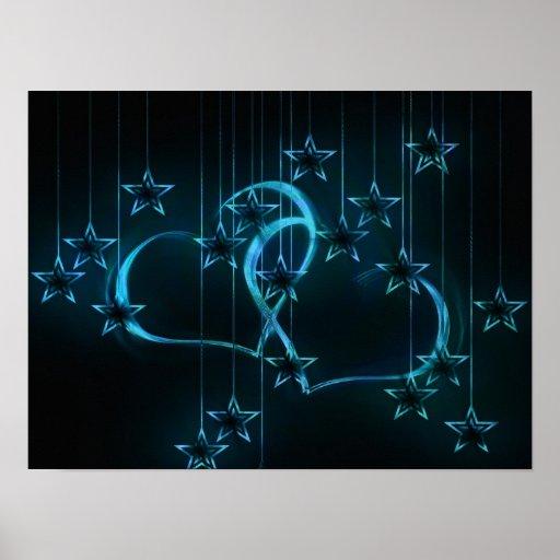 Corazones y estrellas azules poster